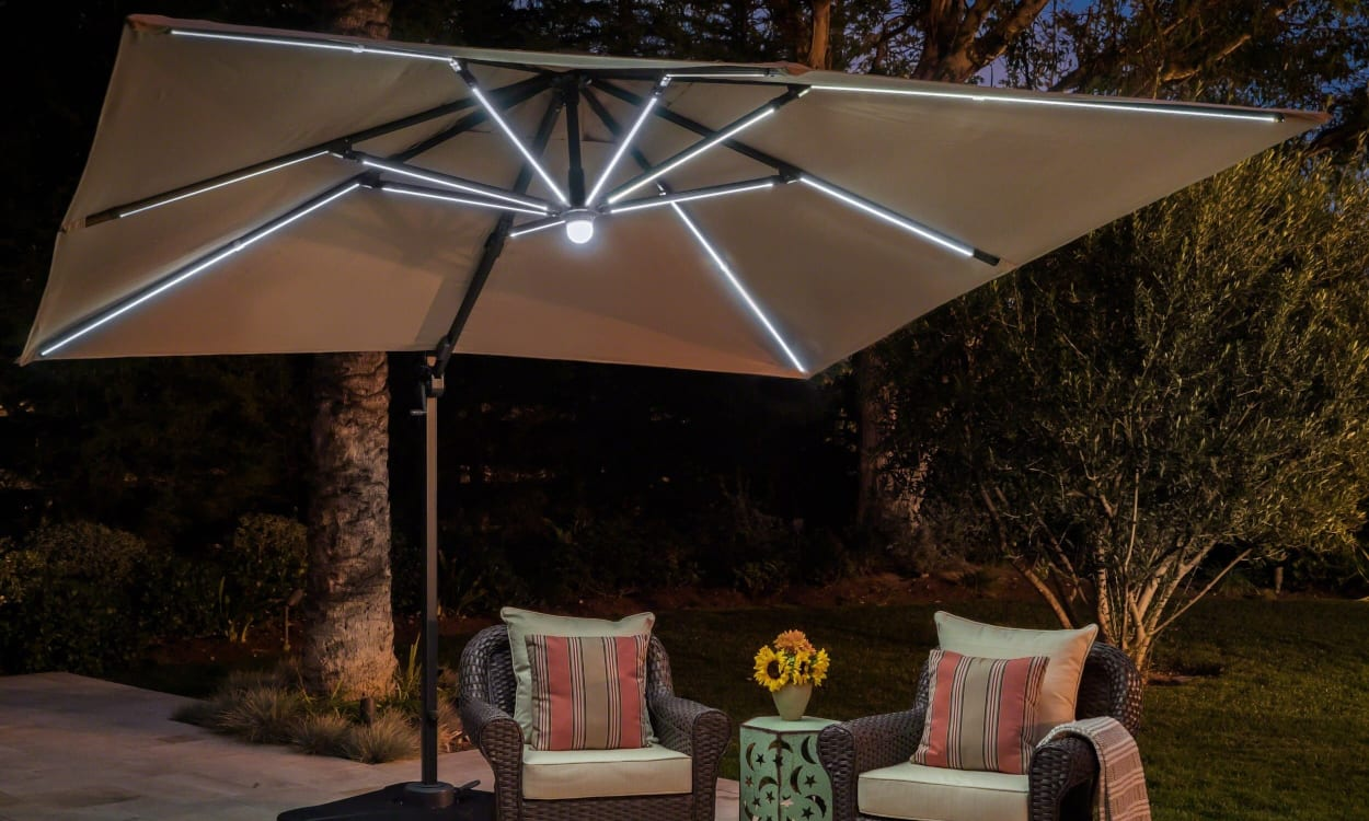 choose the best patio umbrella with these expert tips ing guide lights accent table brighten night pottery barn floor lighting home goods chairs small black round blue nightstand