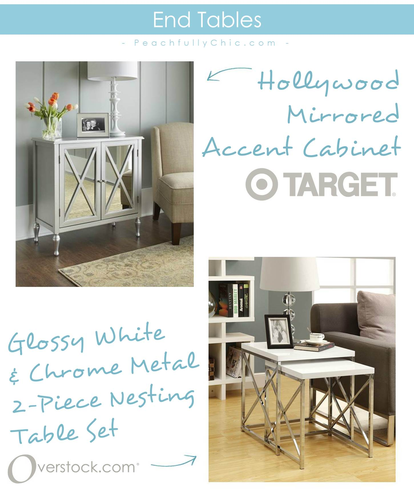 christmas coming peachfully chic target furniture hollywood mirrored accent table the end tables found are tured above covers acacia wood ashley glass high kitchen and chairs