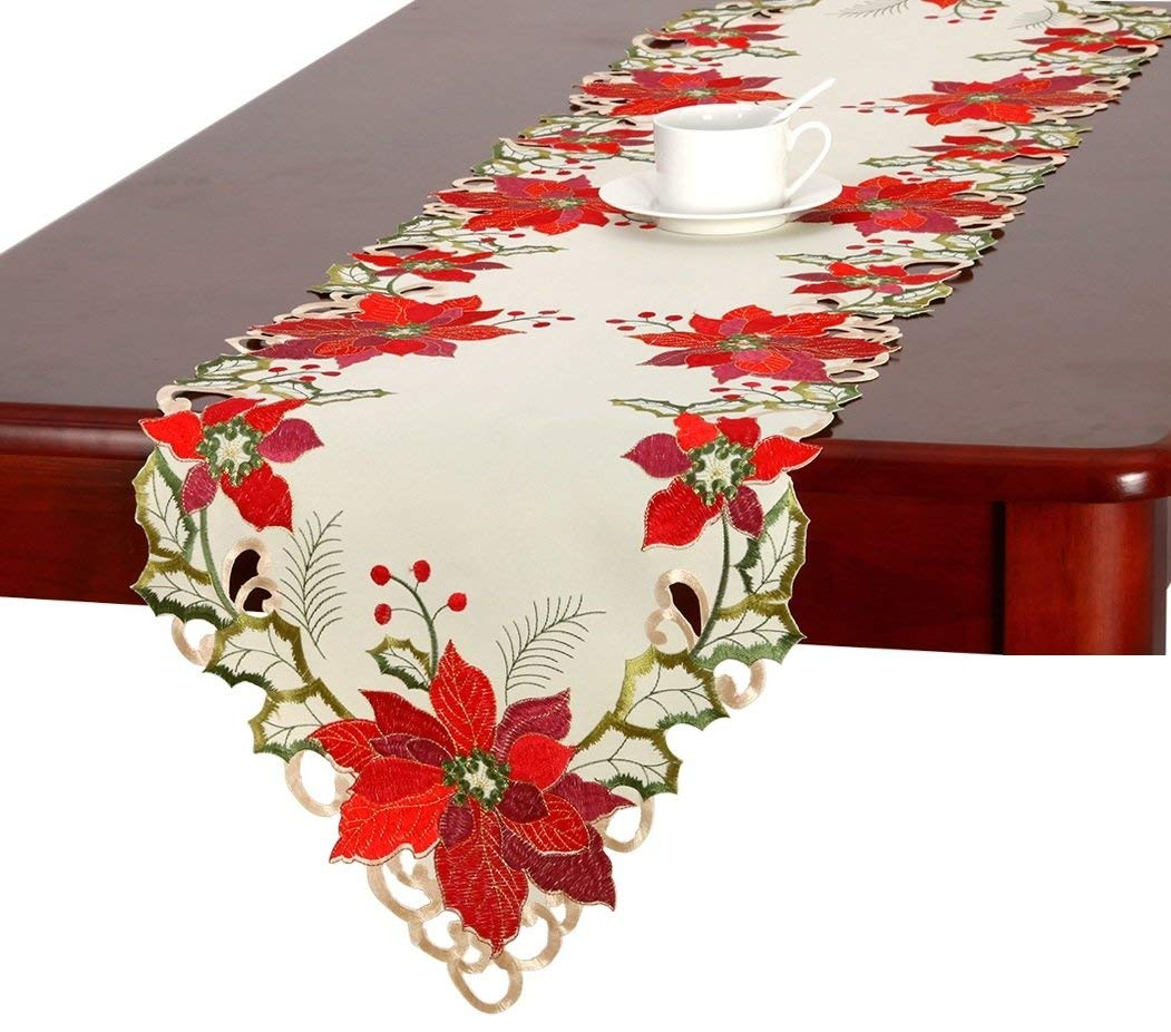 christmas holiday embroidered poinsettia table runner artistic accents tablecloth inch home kitchen uttermost asher blue accent better homes and gardens patio furniture items