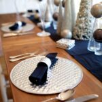 christmas table decor aluminium dot design placemat napkin ring accent coaster and votives accessories include black natural dyed cotton napkins chairs tiffany type lamps mirrored 150x150