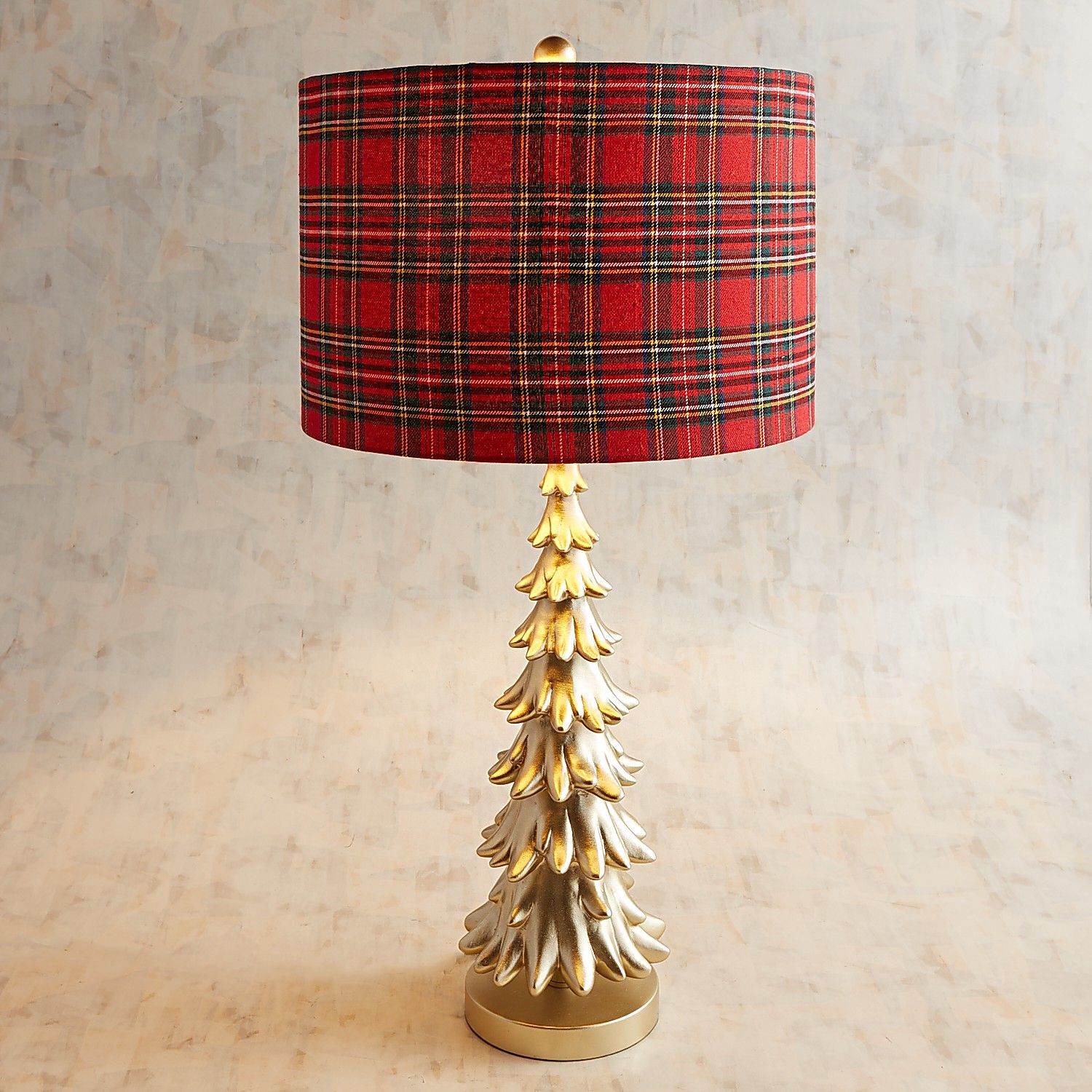 christmas tree table lamp with plaid shade pier imports one accent lamps sisal runner counter height round pub grey and white espresso color coffee cream farm legs insulated ice