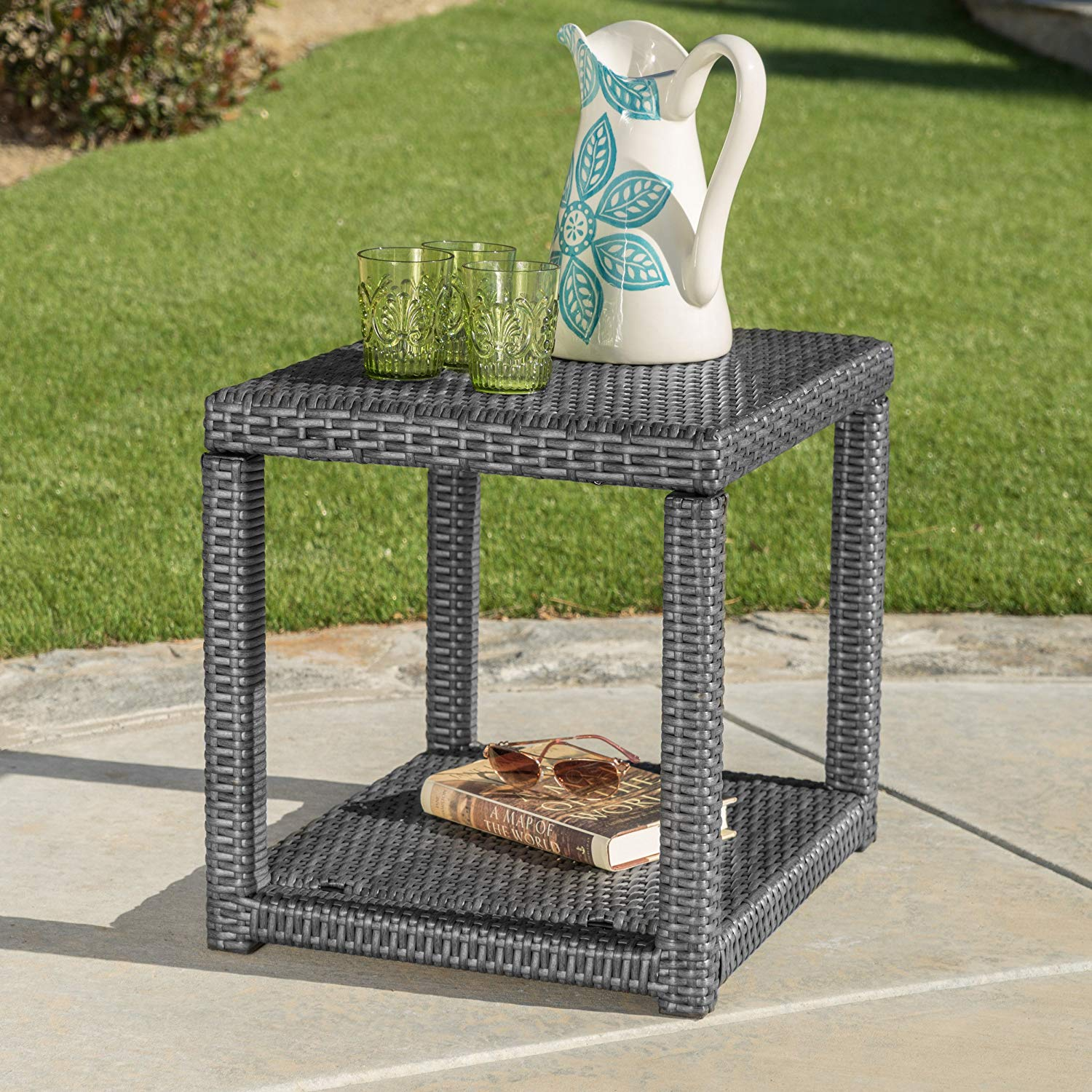 christopher knight home palawan outdoor grey wicker accent table dining with wine rack cart brass bedside tall lamp base patio furniture sets umbrella bar height rustic pedestal