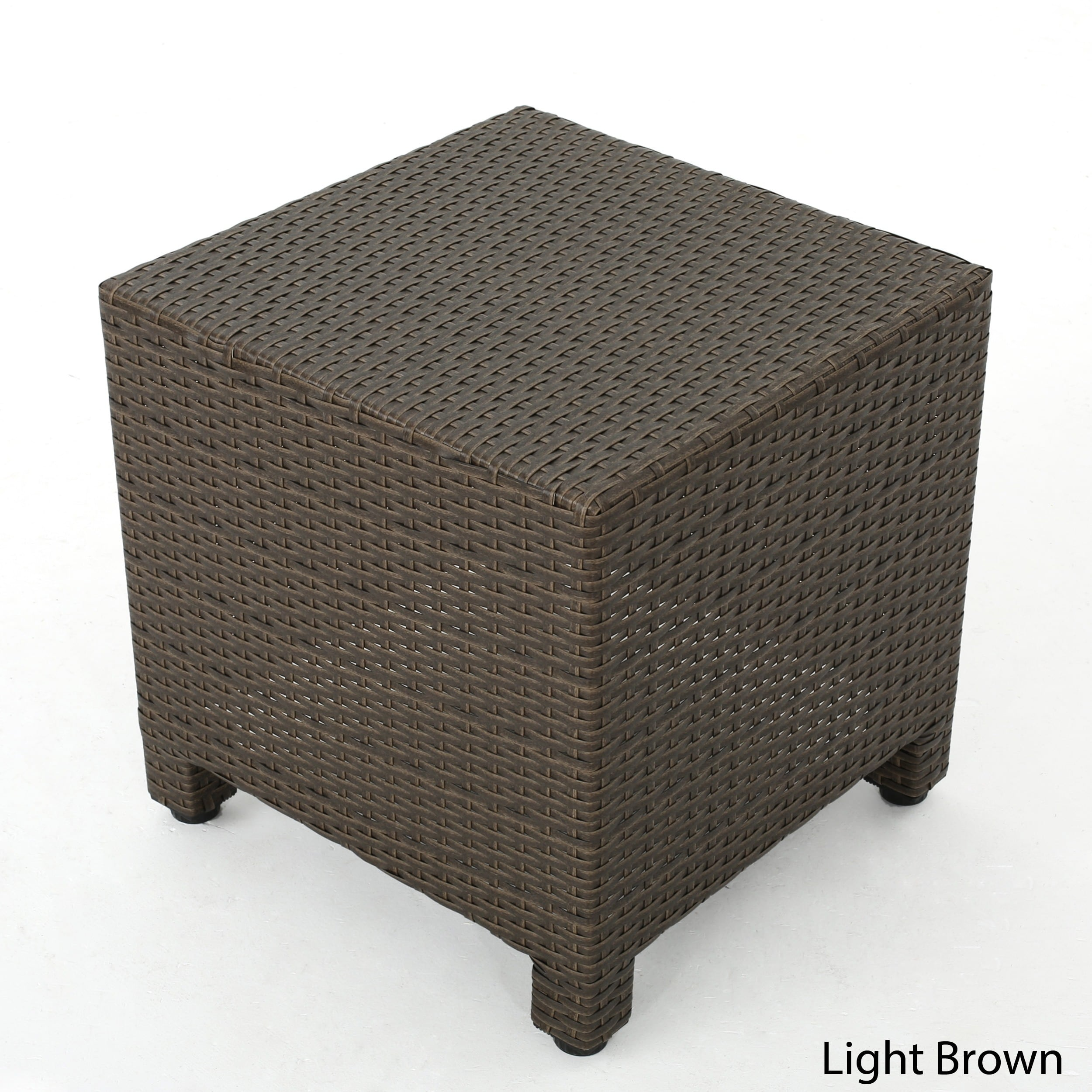 christopher knight home puerta outdoor wicker square accent side table brown nic and bench oak nightstand monitor stand very thin console lucite coffee base dale tiffany dragonfly