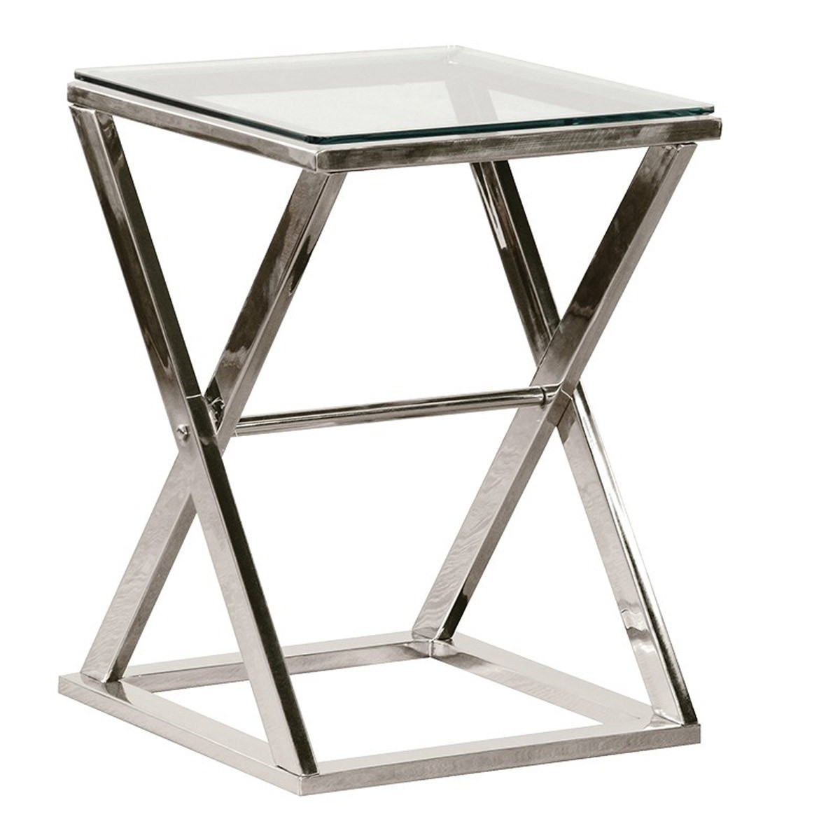 chrome cross legged glass end table side tables living foyer accent small grill spatula canadian tire patio light colored coffee wireless bedside lamp black and white throw rug
