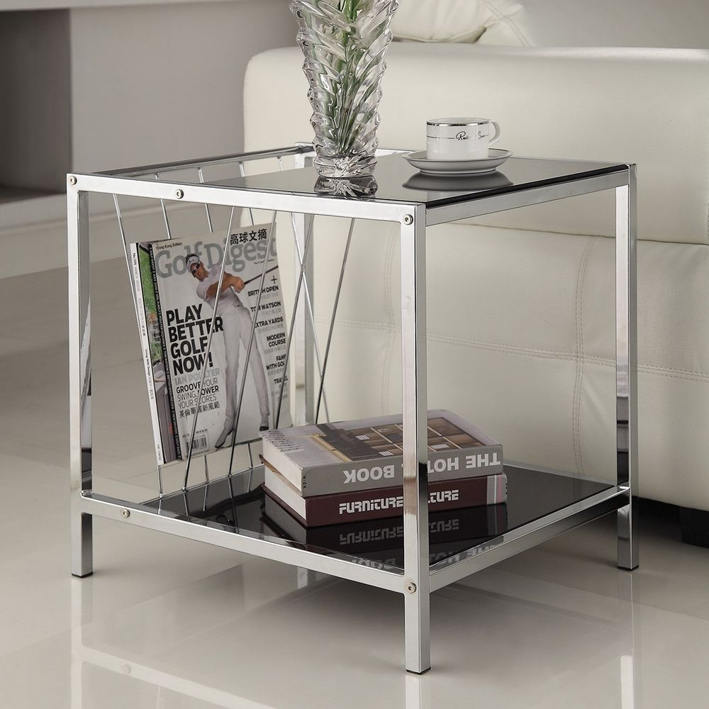 chrome finish chair side end table with magazine holder accent asian style lamp shades replacement legs bedside power garden and chairs clearance wisteria furniture inch round
