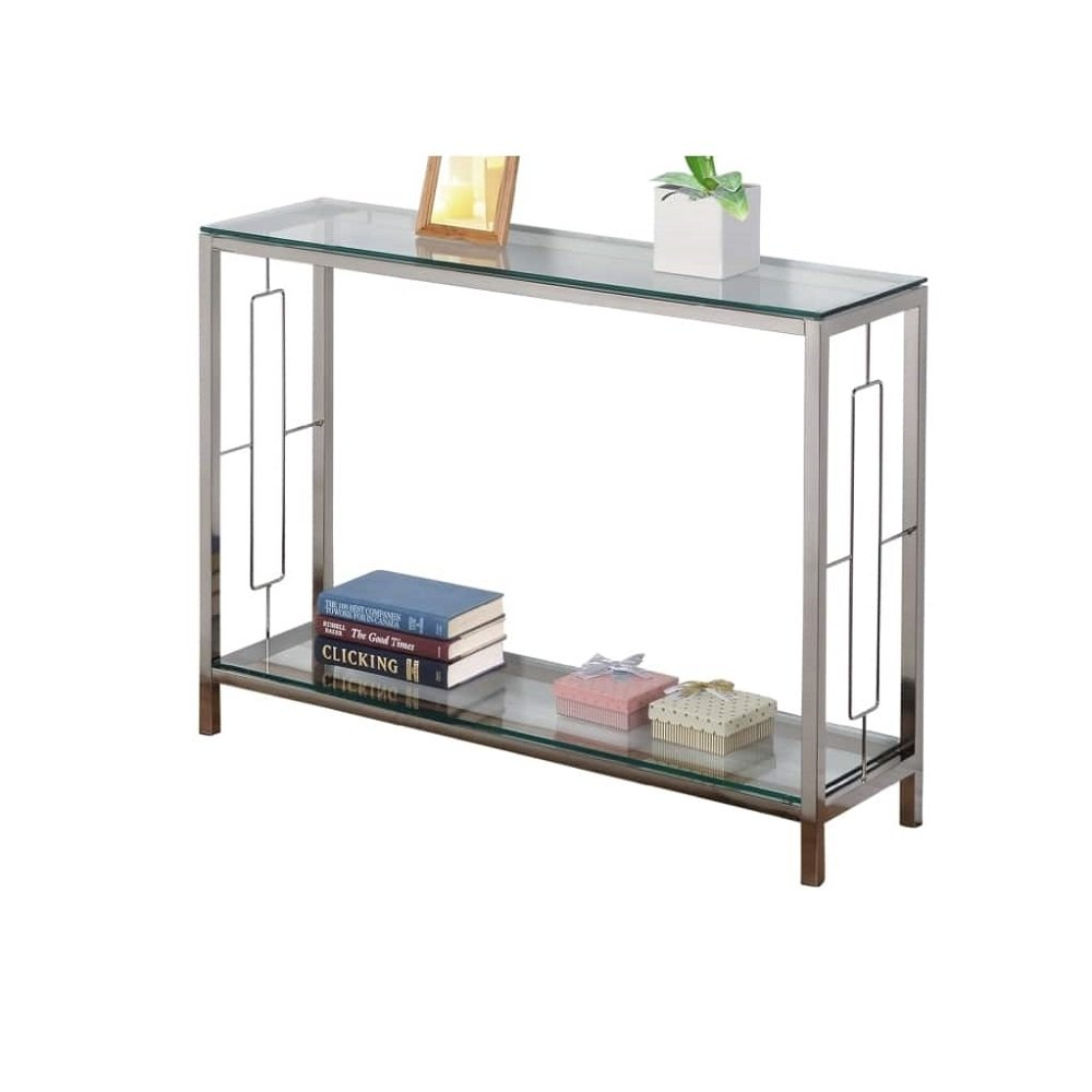 chrome metal glass accent console sofa table with shelf kitchen dining floral lamp small tiffany style desk laminate floor door threshold ornamental lamps narrow ikea living room