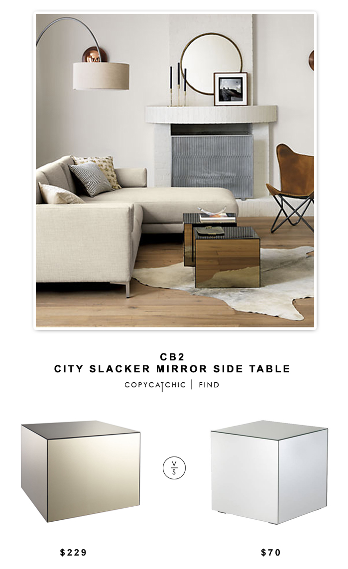 city slacker mirror side table copycatchic daily finds mirrored cube accent for target living room copy cat chic look less budget home modern lamps wine rack shelf high patio oak