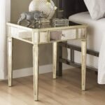 clara antique gold drawer mirrored end table inspire bold faceted accent with glass top free shipping today pineapple lights slim side furniture brass coffee normande lighting led 150x150
