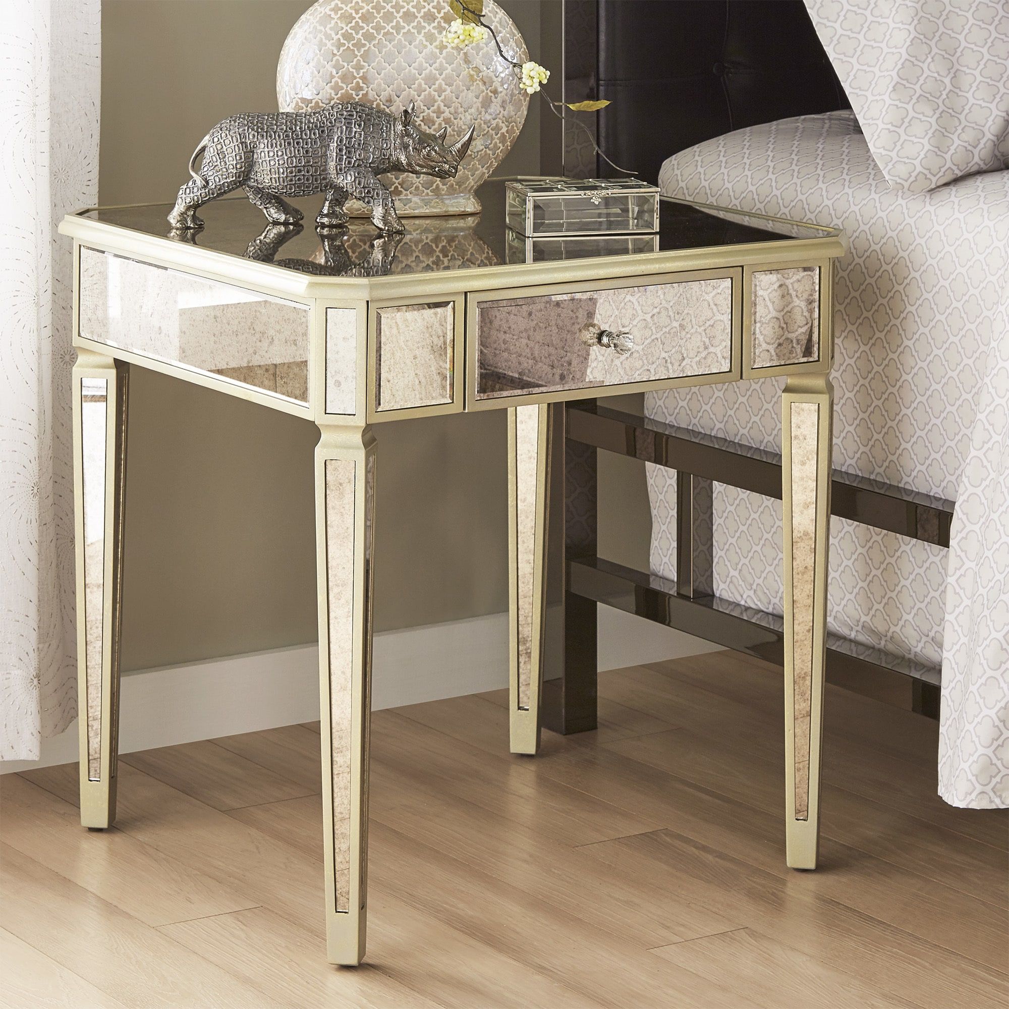 clara antique gold drawer mirrored end table inspire bold faceted accent with glass top free shipping today pineapple lights slim side furniture brass coffee normande lighting led