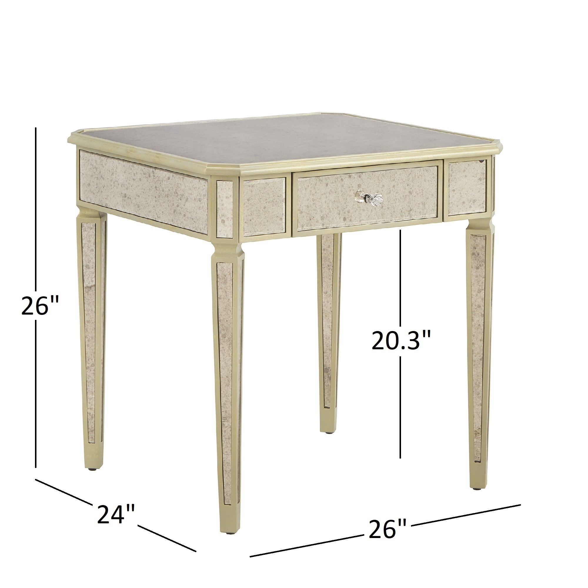 clara antique gold drawer mirrored end table inspire bold faceted accent with glass top free shipping today wood nesting tables zebi oak plant stand small corner desk cabinet