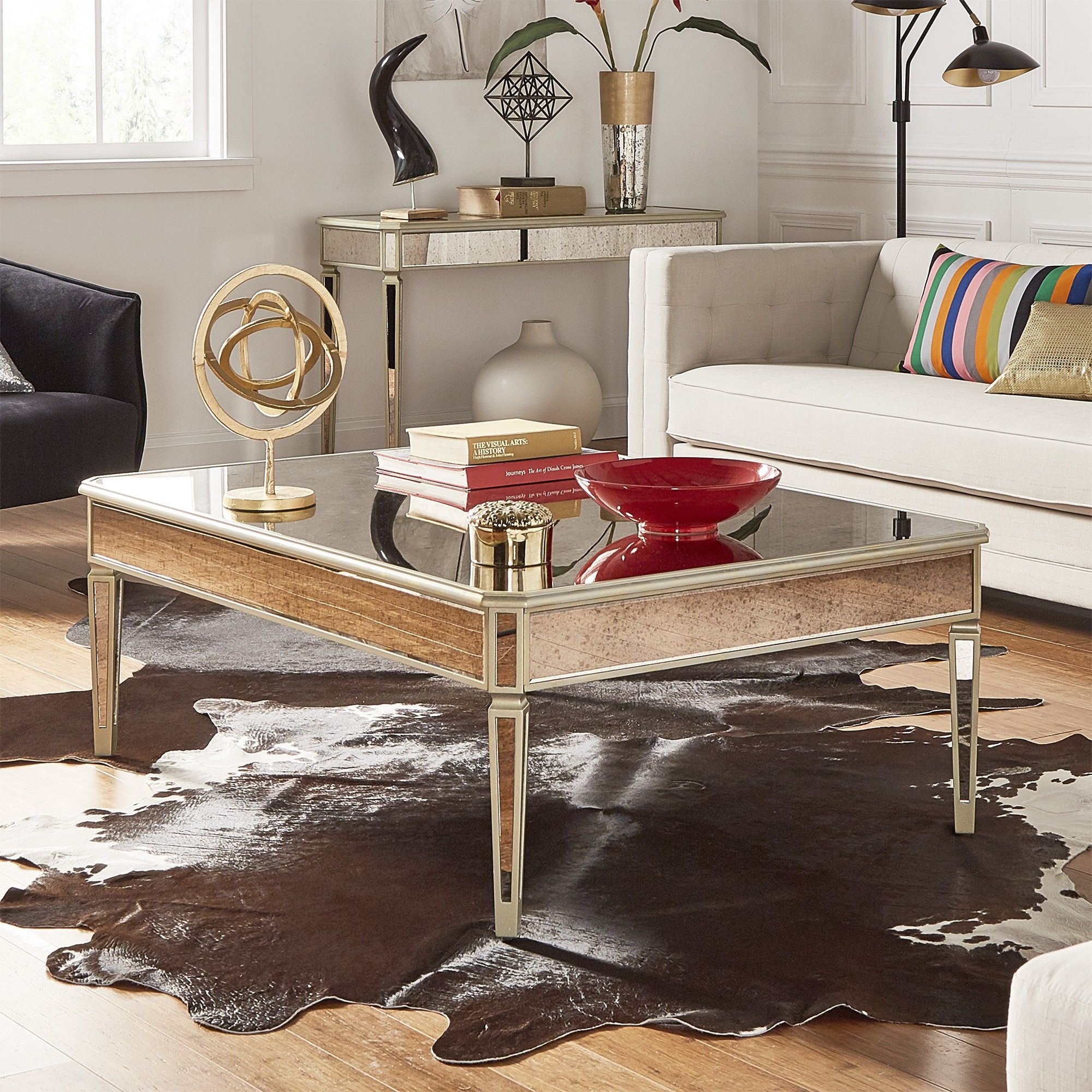clara antique gold mirrored accent tables inspire bold piece table and mirror set coffee end round metal folding patio small glass top vintage sofa pottery barn tripod lamp carpet