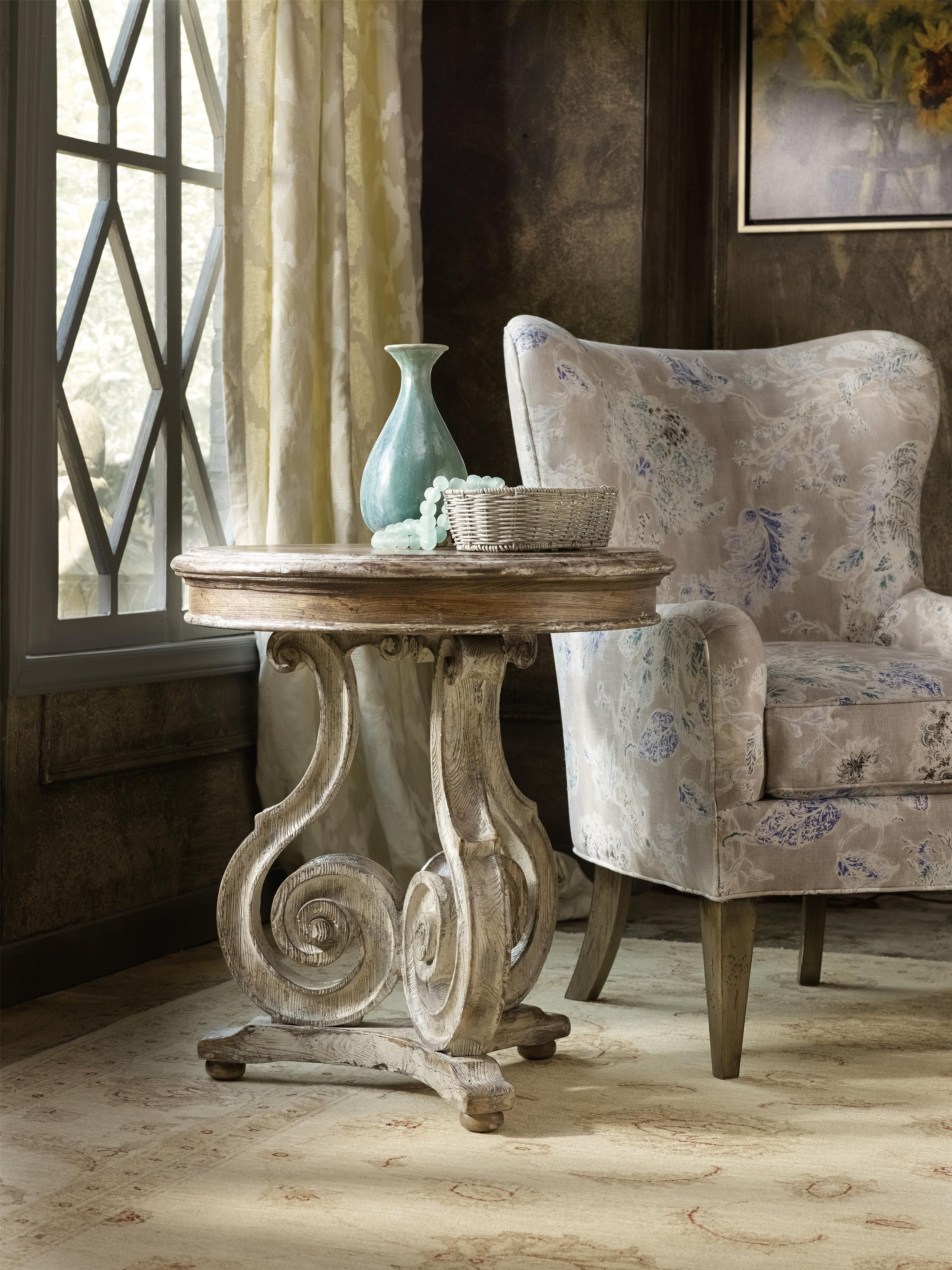 classic european design and farmhouse style combine into this accent table elegant scroll the beautifully curved pedestal creates eye catching room board rugs ikea wall desk combo