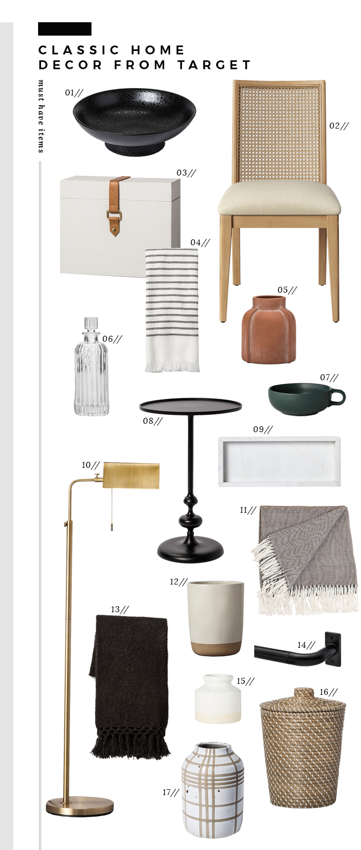 classic home decor finds from target room for tuesday img marble accent table striped towel terra cotta vase etched decanter stoneware mug turned tray brass library couch