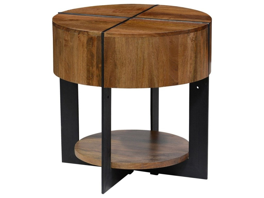 classic home desmond round mango wood end table with iron products color desmondround assembled chest drawers dining room covers fireplace small desk chairs for spaces gray and