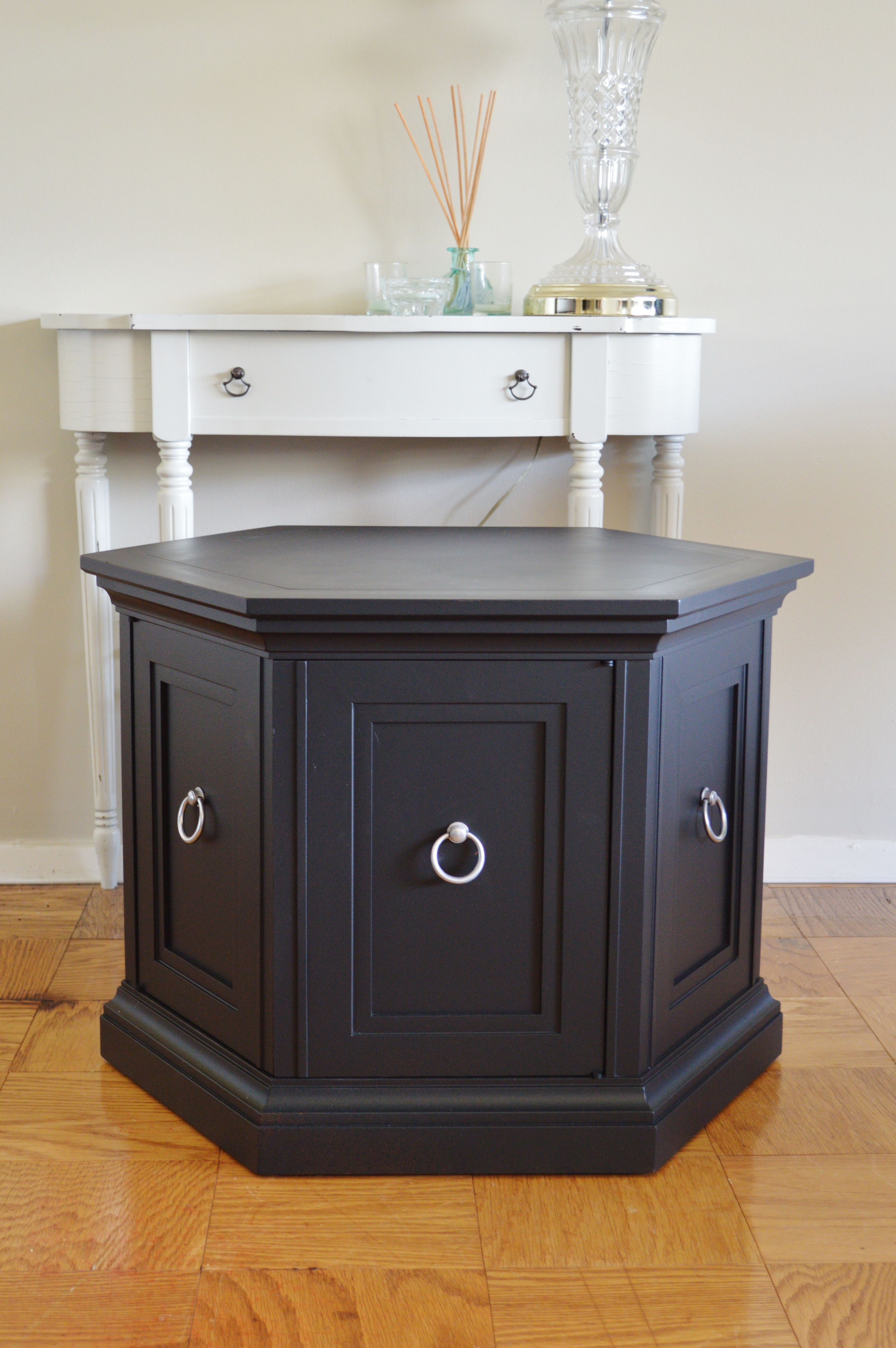 classic mid modern hexagon side table retro cabinet black round end inch height target bistro ethan allen court nightstand mersman century beauty vanity desk tops covered litter