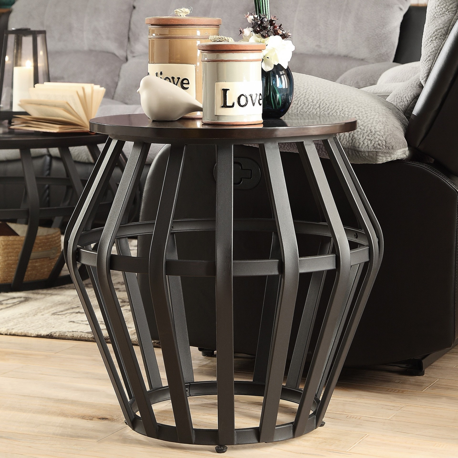 classy steel drum coffee table tables best devon metal frame round cage slate accent end inspire wood classic free stylish lamps with legs target patio side cloth decoration small