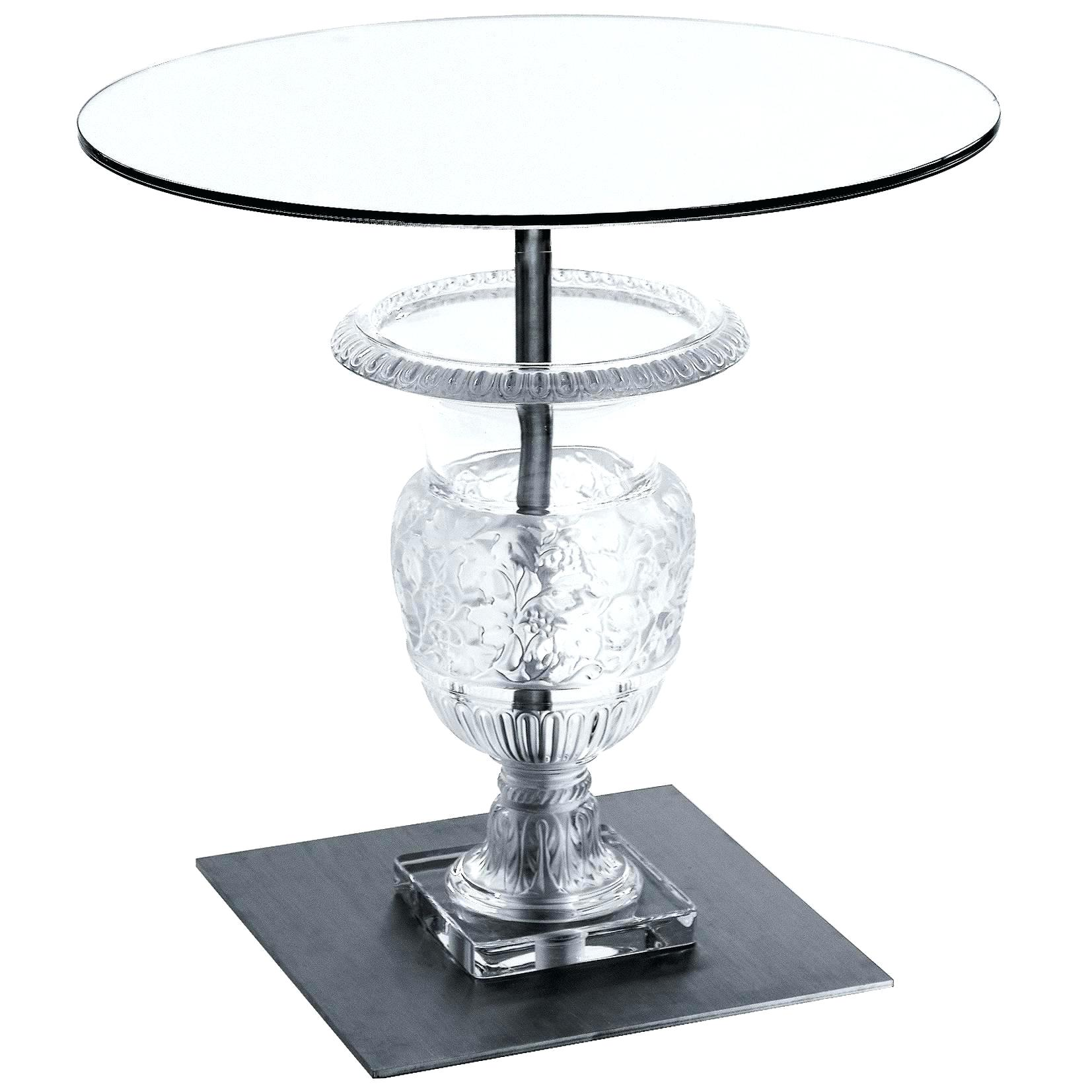 clear accent table crystal pedestal side for acrylic patio chair seat covers bistro tablecloths round white resin wicker basic coffee ceramic end tables set bedside pier one