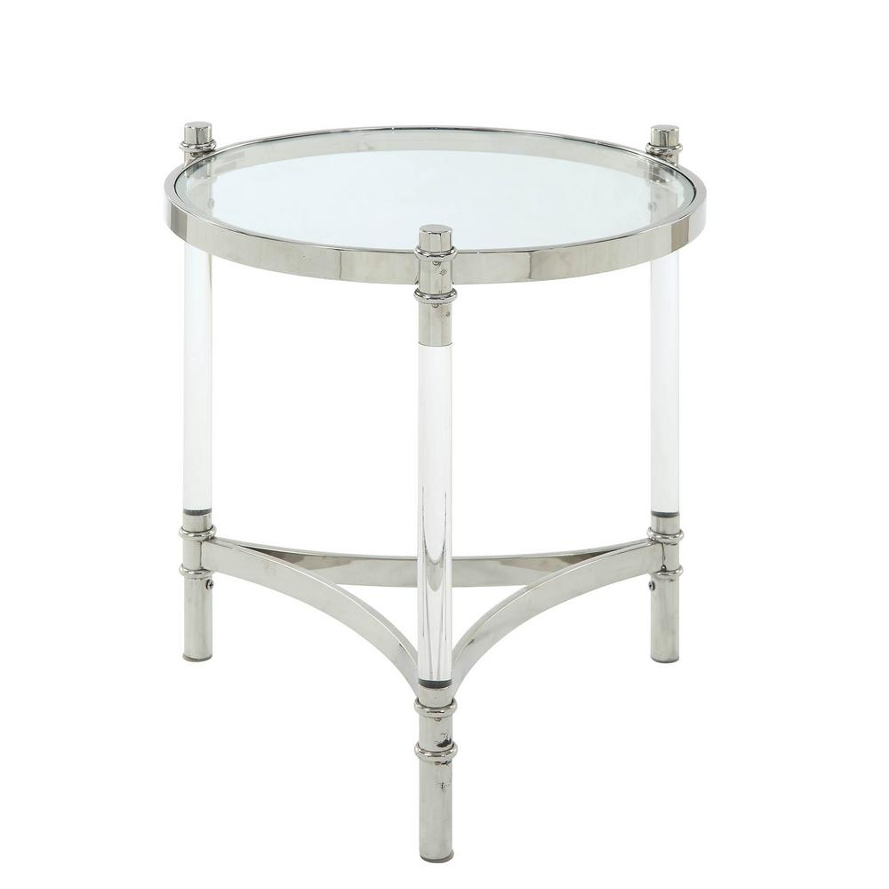 clear acrylic end table quatre stainless steel and glass acme furniture tables zella accent lucite peony modern mississauga outside storage containers small round antique target