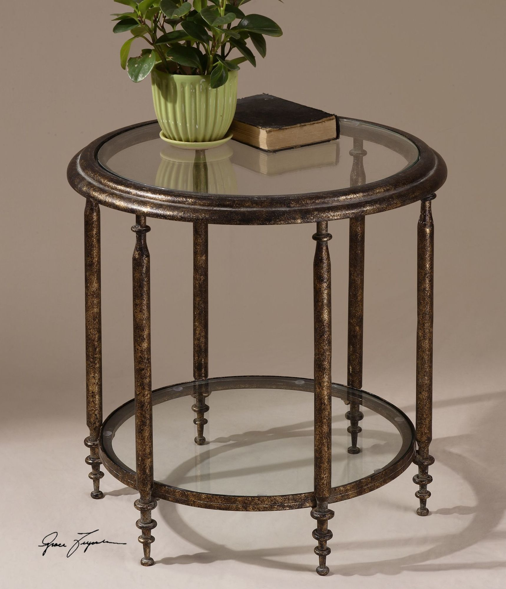 clear glass top round accent table with one shelf brown mathis bistro pub clock design half moon decor pier low tables for living room gold metal coffee solid wood and end