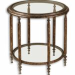 clear glass top round accent table with one shelf brown mathis foldable trestle easter runner quilt patterns plexiglass modern wood coffee iron and chairs cupboards shallow 150x150
