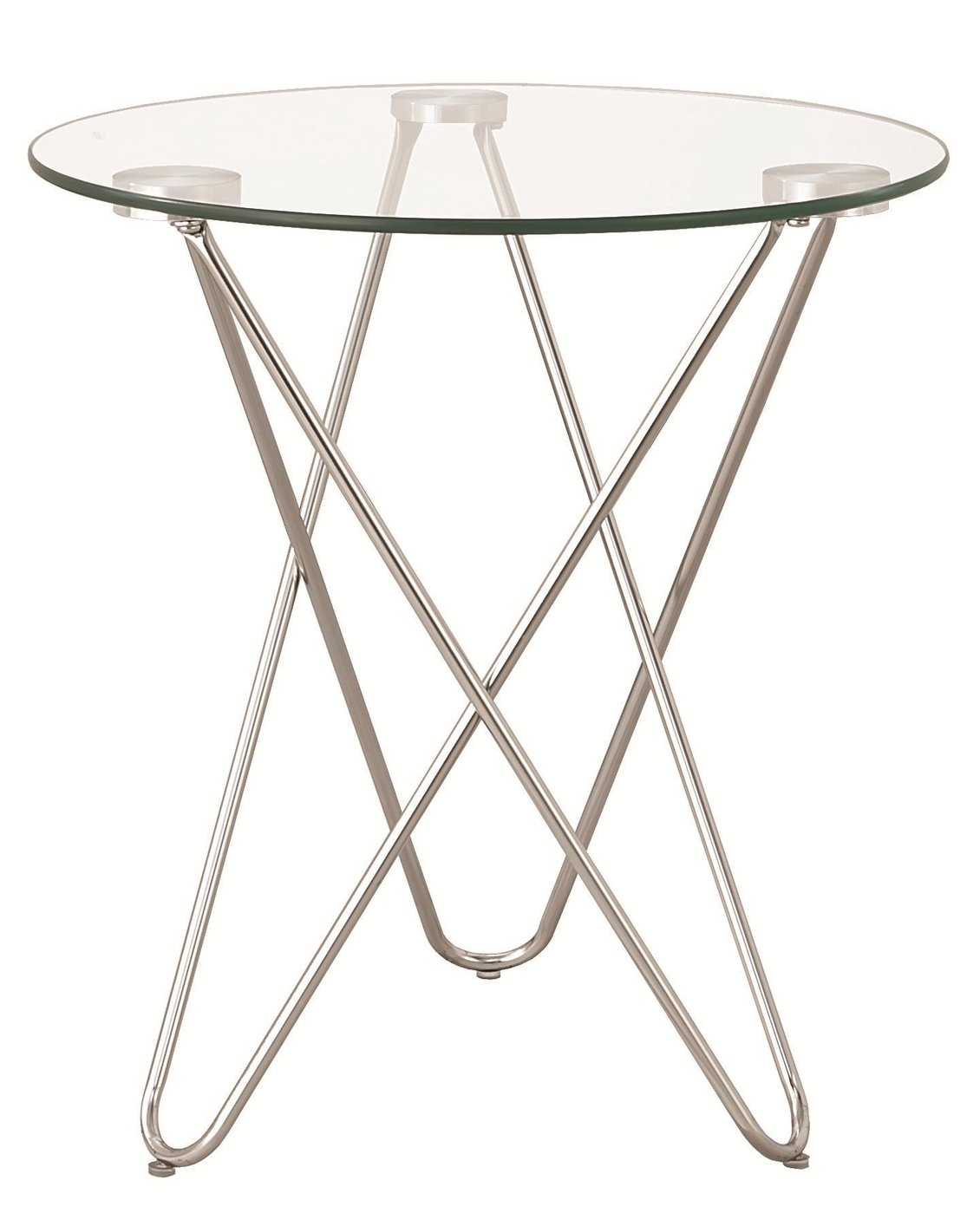 clear metal accent table steal sofa furniture los angeles silver glass round mirror blue and white coffee long narrow behind couch bedside tables kmart floor french beds cherry