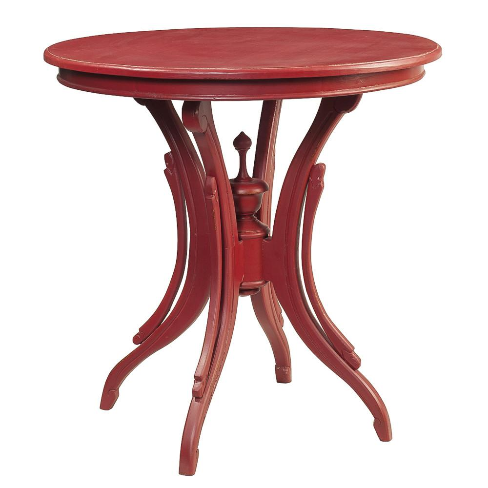 clove round accent table true red wrightwood furniture new wood room essentials outdoor side gray dining chairs metal legs ikea target small drop leaf set bar stool stein world