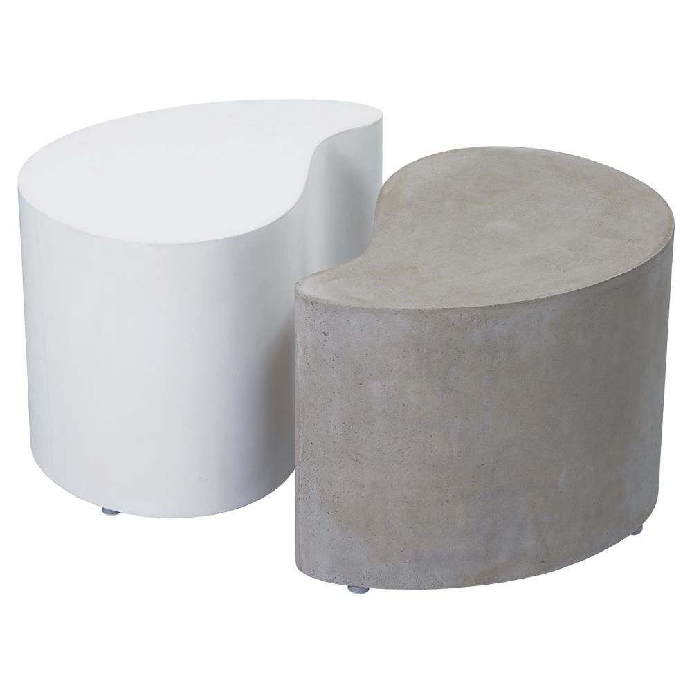clyde modern white and grey concrete outdoor side end table set product kathy accent chair with storage porch patio furniture coffee base ideas resin nautical inspired lighting