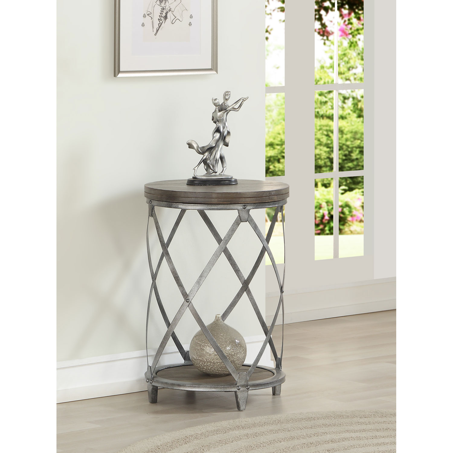 coast imports waverly round accent table gray and brown hover zoom white coffee set tablecloth gold bookshelf lamp kitchen side shades wood console pier one end tables red outdoor