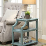 coast light blue wood three tier accent table alt share patio side with umbrella hole west elm office chair flesner brushed steel lamp usb port groups large wooden trestle holiday 150x150