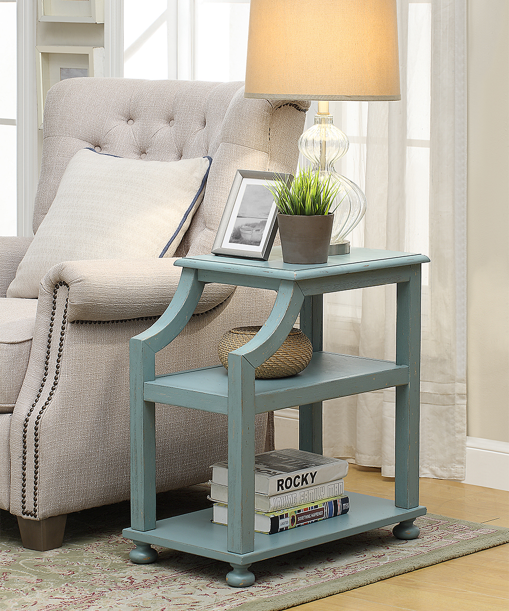coast light blue wood three tier accent table alt share patio side with umbrella hole west elm office chair flesner brushed steel lamp usb port groups large wooden trestle holiday