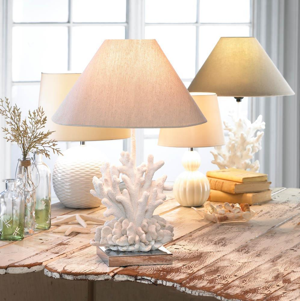 coastal accents ocean seaside decor nautical gifts white coral reef accent table lamps details about lamp console desk ikea vintage retro dining and chairs battery operated