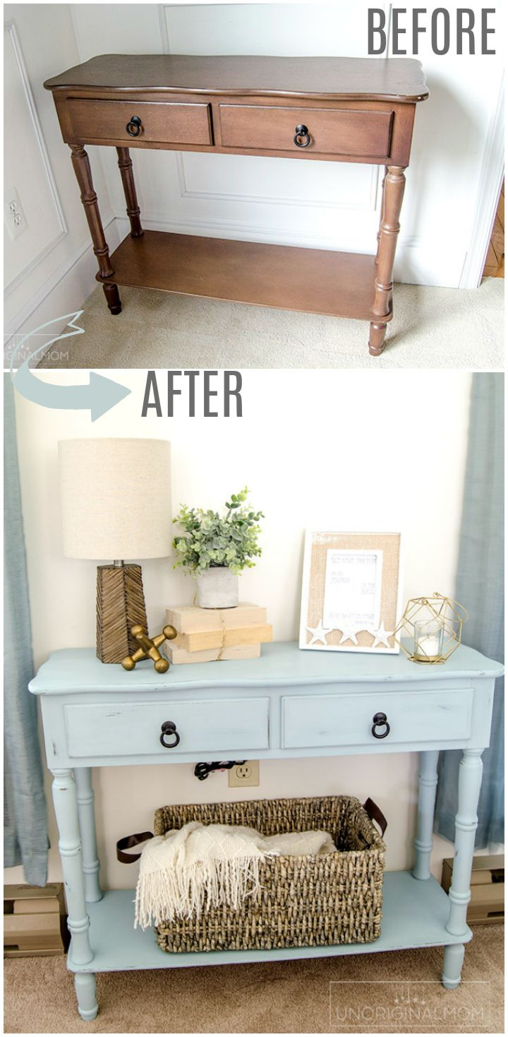 coastal blue side table makeover share your craft furniture rustic corner accent beautiful beachy with chalk paint love this color americana decor chalky finish robin egg sofa