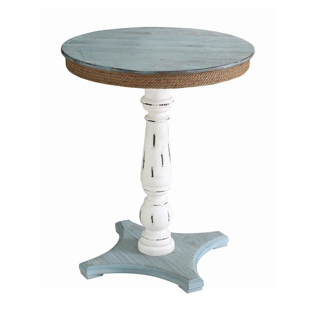 coastal wood and rope accent table enchanted cottage coastaltablerope distressed blue grey white coffee counter height kitchen chair sets contemporary dining room chairs pretty