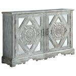 coaster accent cabinets distressed grey cabinet with ornate doors and drawers table small modern glass coffee miniature lamps moroccan mosaic garden rustic chic tables toronto 150x150