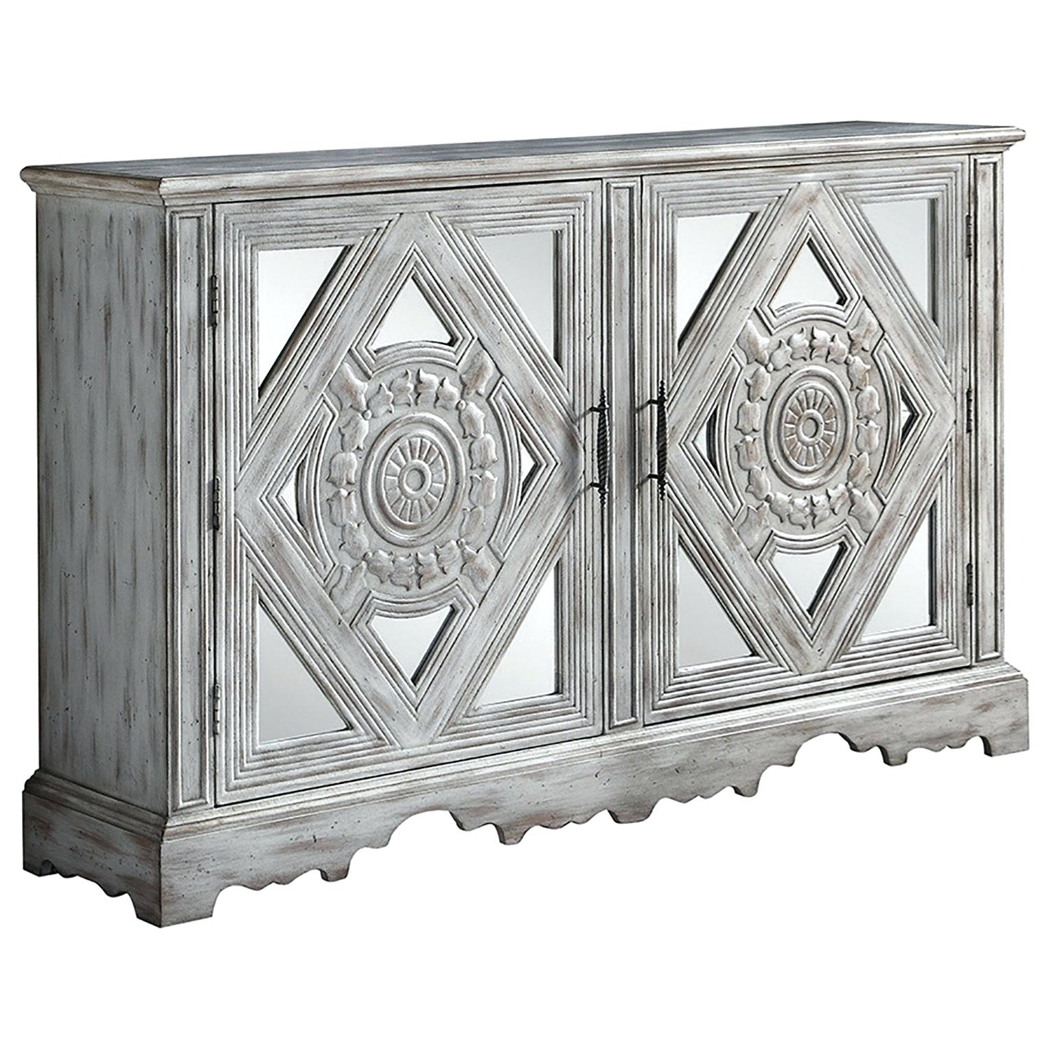 coaster accent cabinets distressed grey cabinet with ornate doors and drawers table small modern glass coffee miniature lamps moroccan mosaic garden rustic chic tables toronto