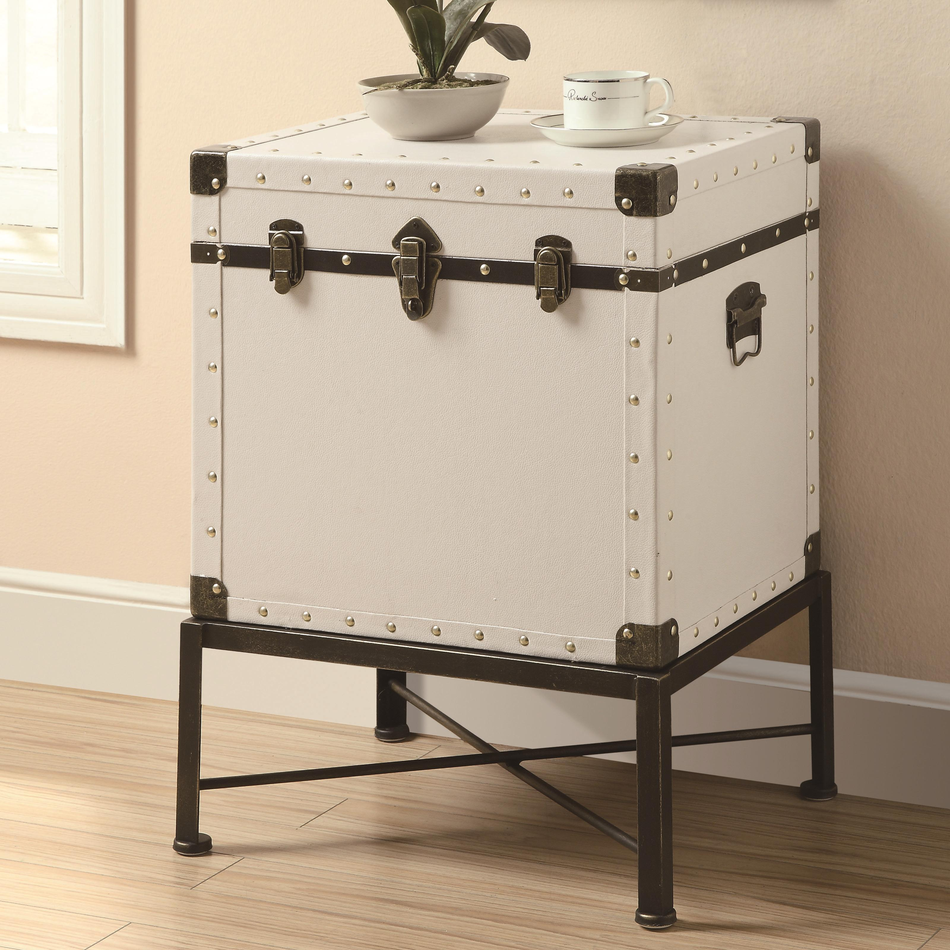 coaster accent cabinets trunk style side table value city products color storage furniture cabinet small entryway with drawer laminated tablecloth wooden wall clock dining room