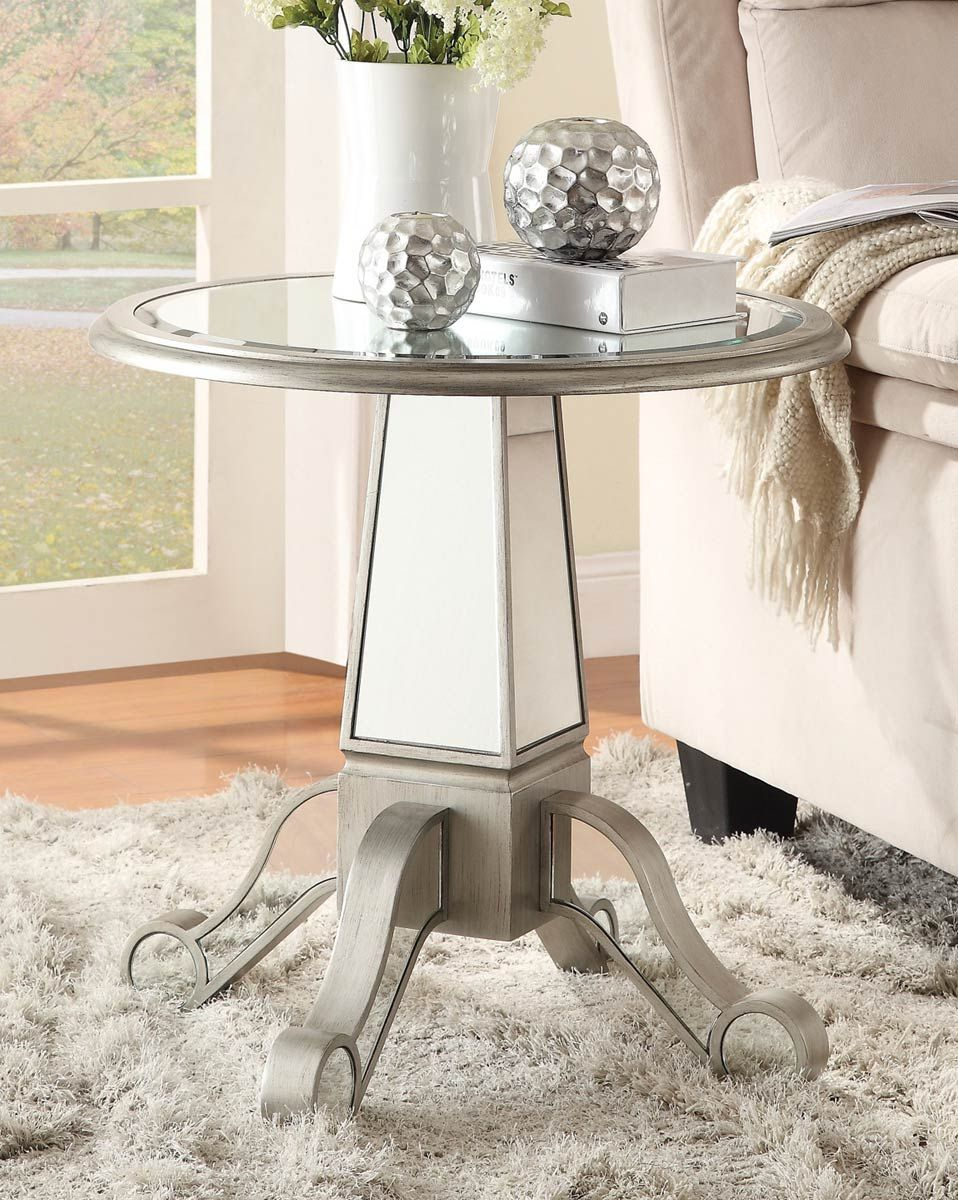 coaster accent table antique silver crafted with unique mirrored glass base half round hall marble top bistro inch fitted vinyl tablecloth phone small bathroom tables garden patio