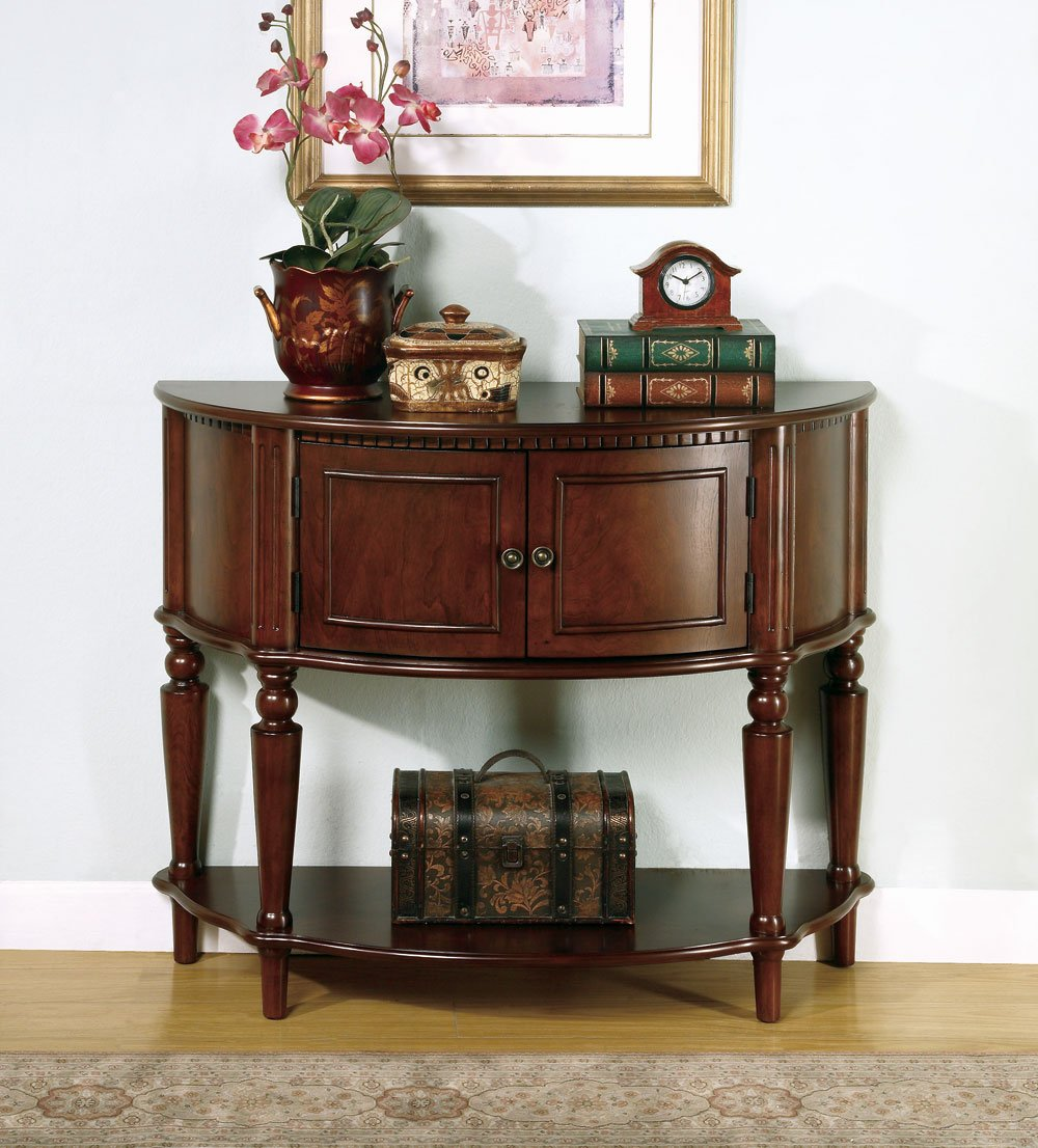 coaster accent tables brown entry table with curved front inlay wood shelf tuscan hills side chairs arms barn door tiny patio furniture pier one coupon code metal wellington tall
