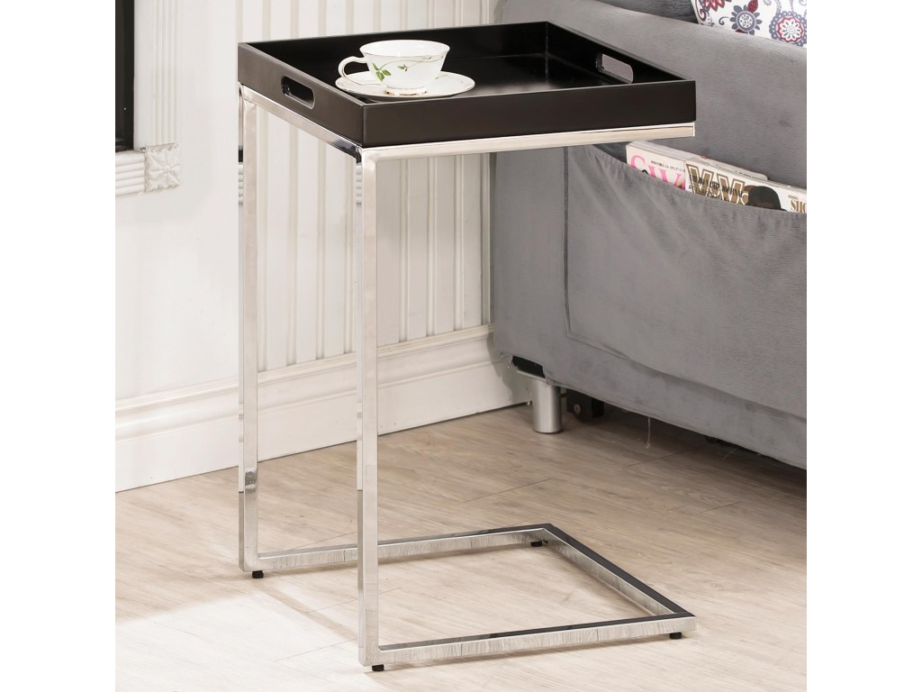 coaster accent tables chrome metal snack table with removable products color coas tray tablessnack counter height dining set battery powered led lights white coffee drawers small
