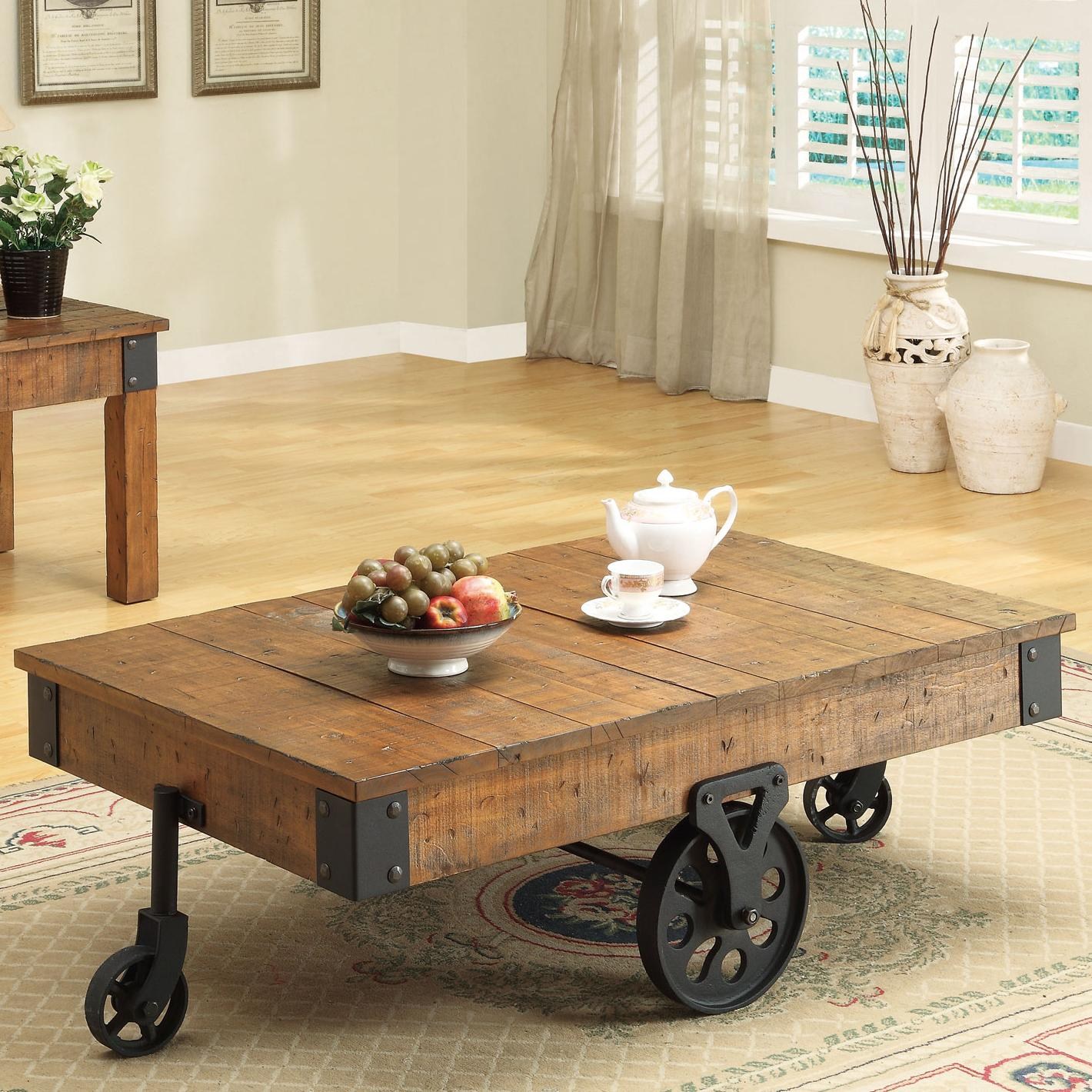 coaster accent tables distressed country wagon coffee table prime products color coas end small nightstands for bedroom wooden chair legs oak mission black gloss faux marble drum