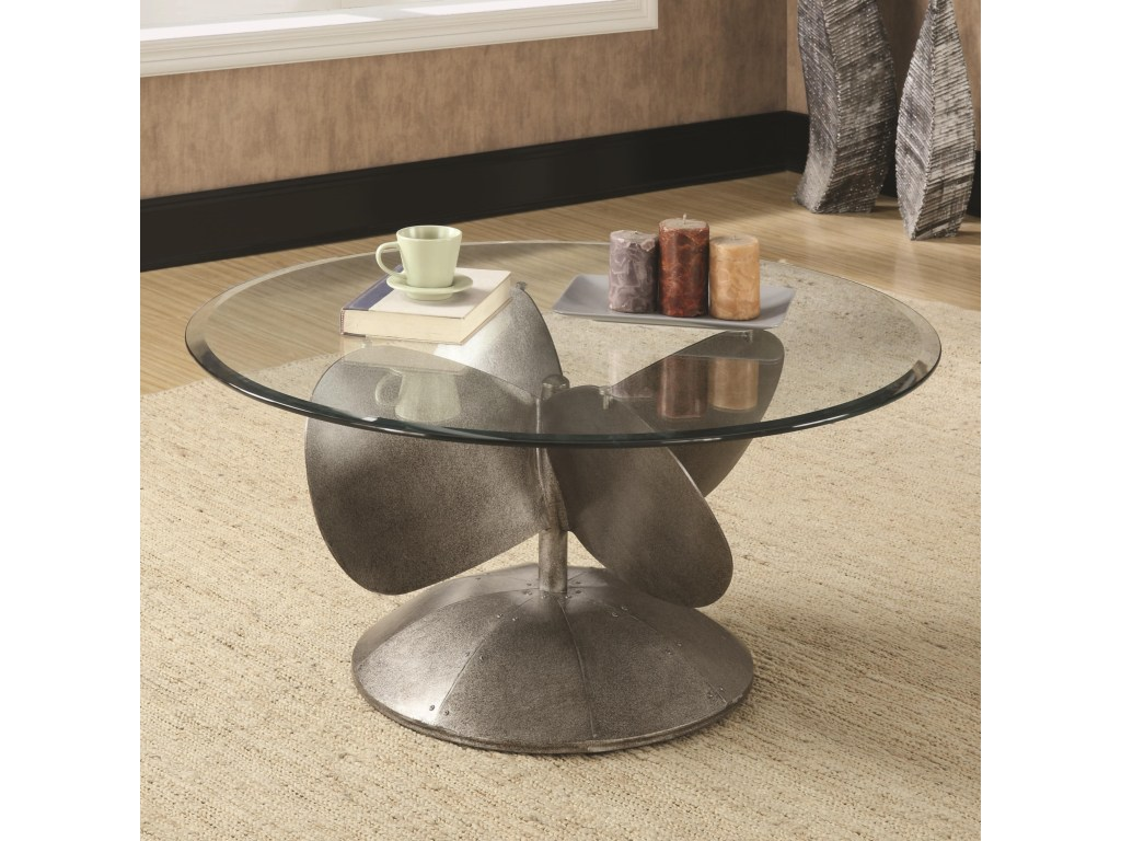coaster accent tables industrial coffee table with propeller products color coas furniture tablescoffee glass top patio beverage tub stand rattan drinks cooler round marble chrome