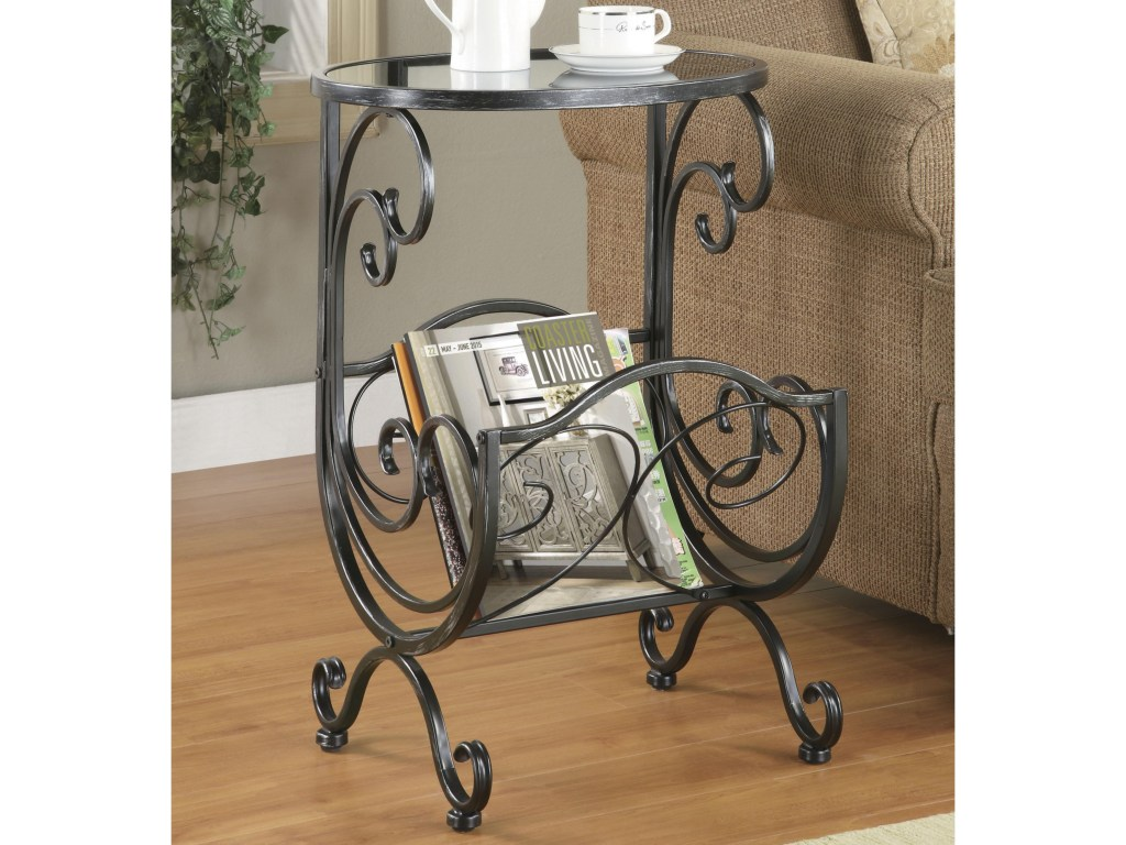 coaster accent tables metal glass side table with scroll magazine products color coas end rack brass leg coffee tall square dining mirrored bedside units faux marble extra long