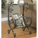 coaster accent tables metal glass side table with scroll magazine products color coas end rack entryway mirror grill cart victorian sofa tiffany lighting direct small circular 150x150
