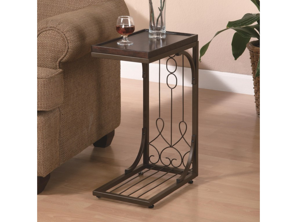 coaster accent tables small brown snack table with burnished cooper products color coas base tablessnack bunnings outdoor seating nic rustic looking end stackable marble copper