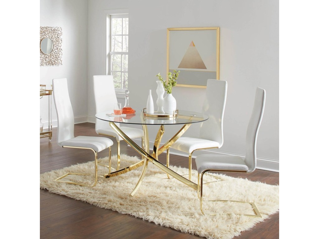 coaster chanel glam piece dining set with gold colored accents products color accent pieces for room table dunk bright furniture sets painted chest drawers half moon storage