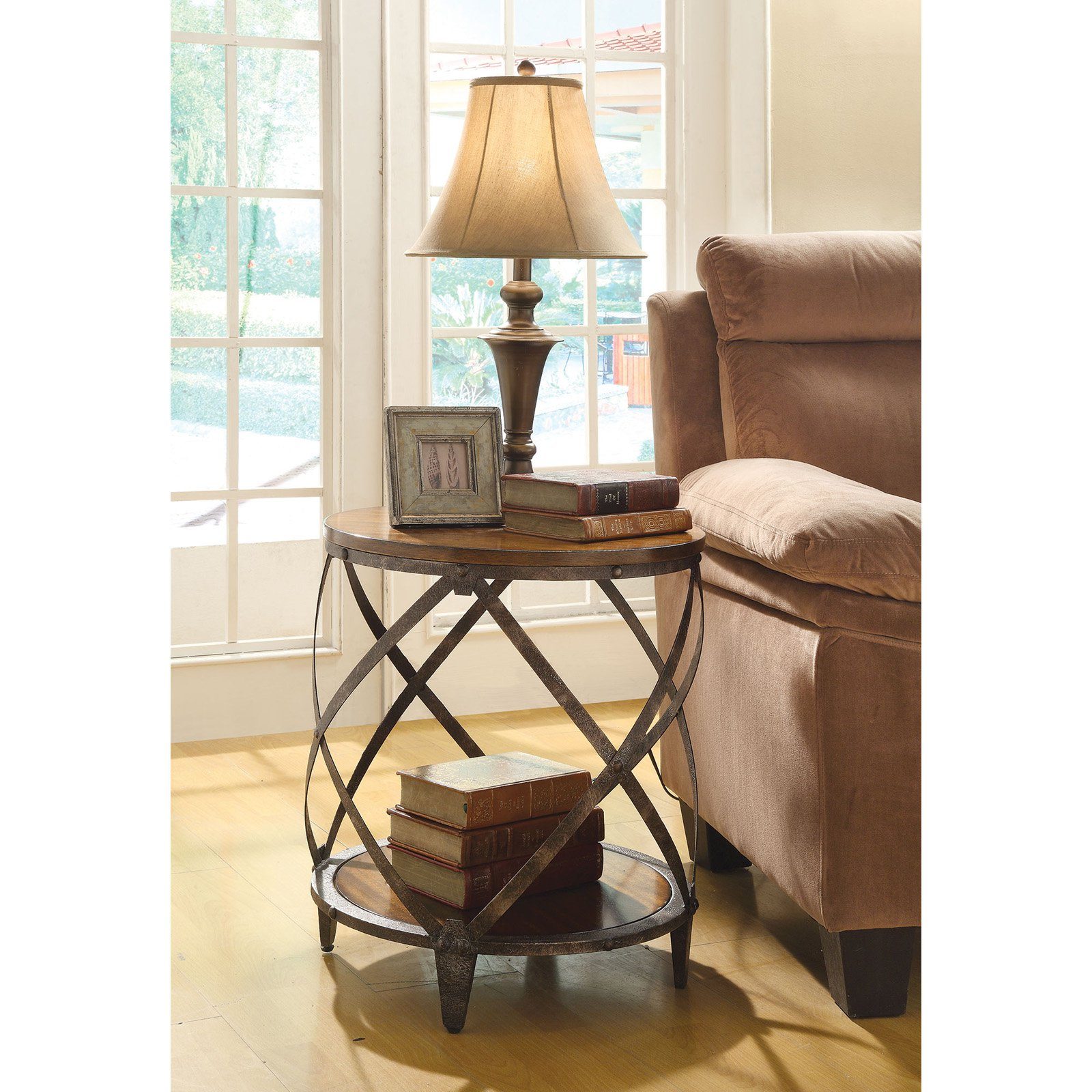 coaster furniture brown spiral metal frame accent table tables vintage half moon wood and glass nest cordless battery lamp home theater round top outdoor chair covers rectangular