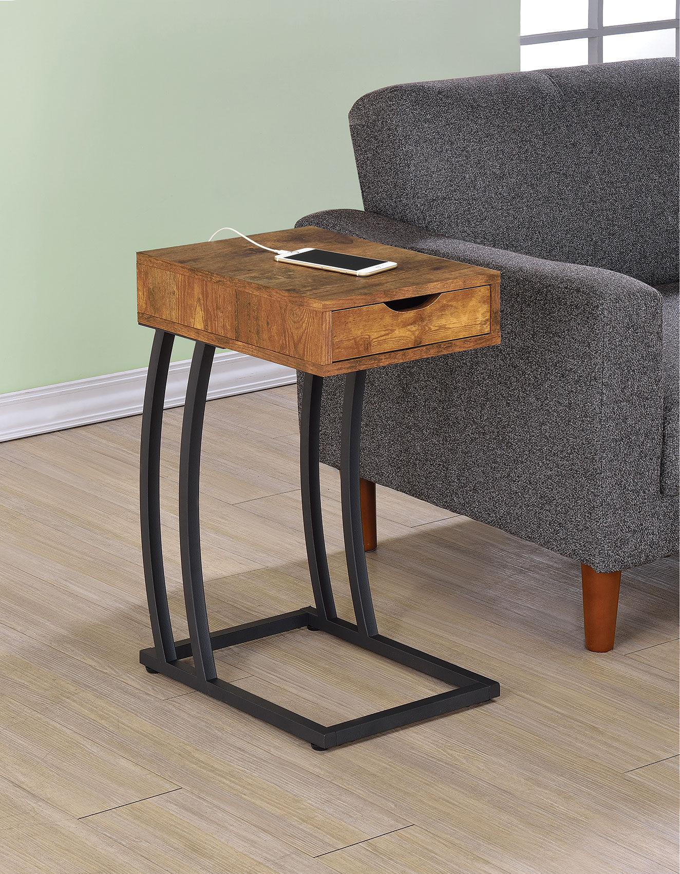 coaster furniture nutmeg accent table with power strip the classy home cst nesting set pottery barn dining room chairs high kitchen and stools black white patio umbrella espresso
