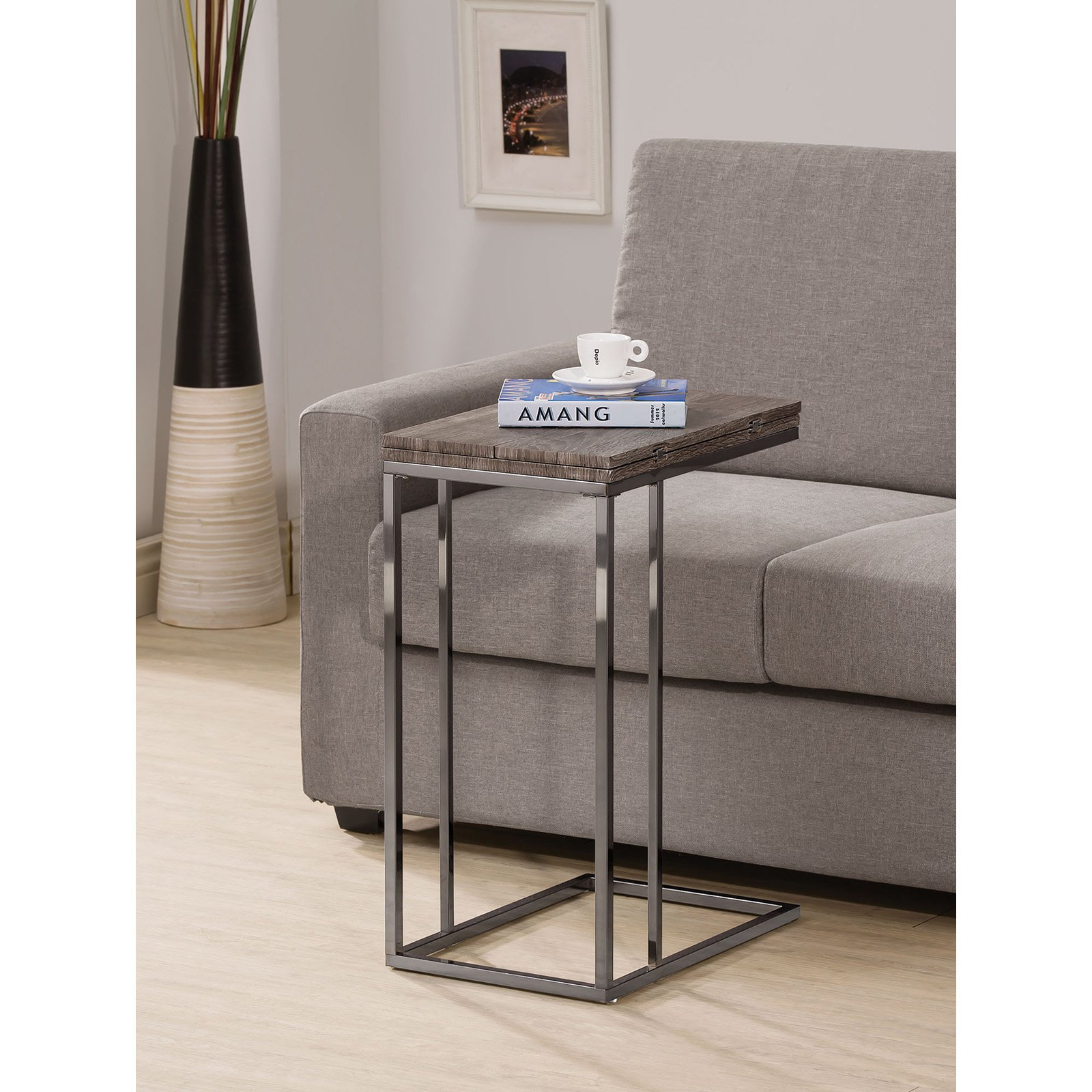 coaster furniture weathered grey flip top end table living room accent snack with glass semi circle unique kitchen islands for foyers drum box seat metal patio coffee oval and