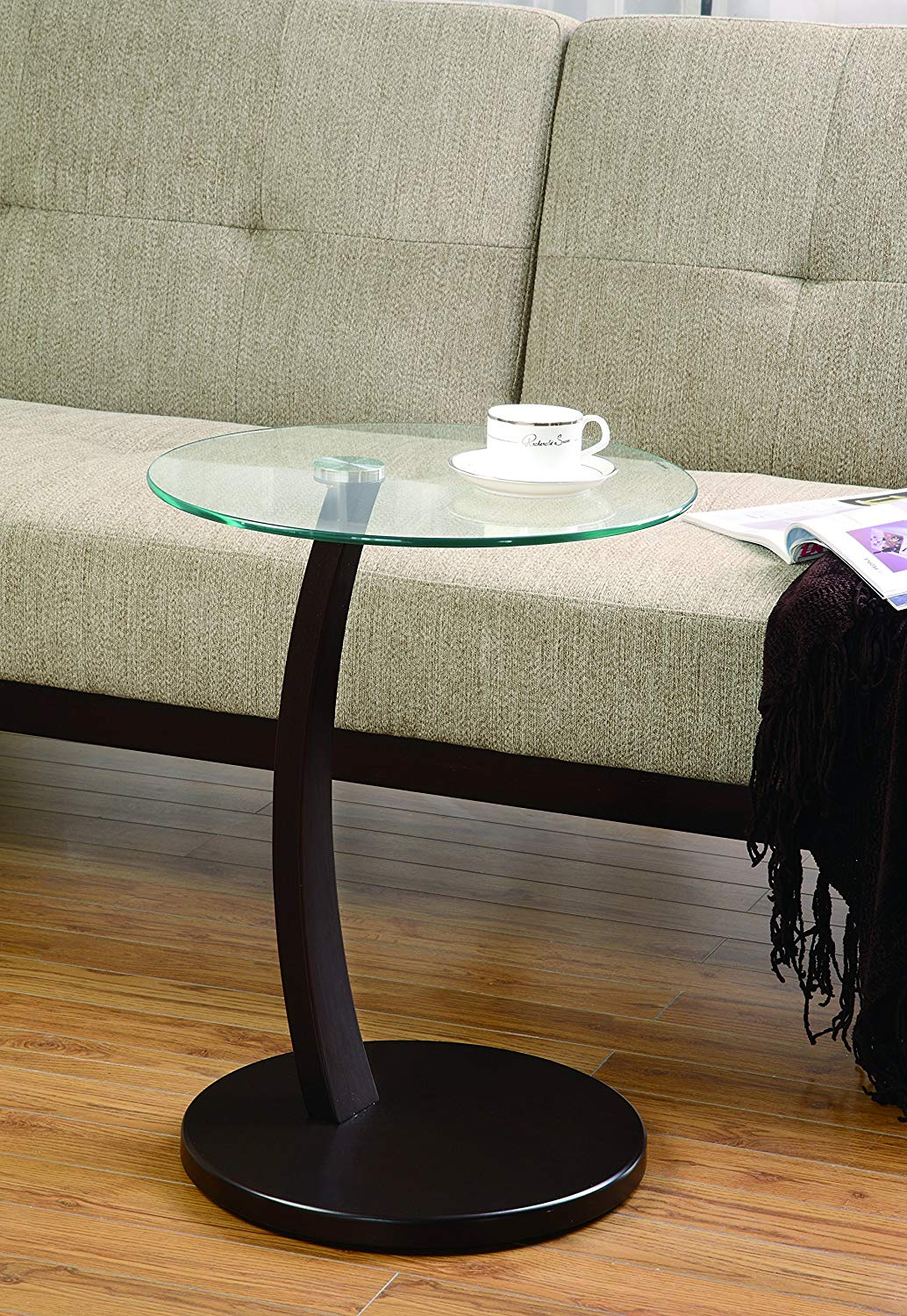 coaster home furnishings accent table with round glass top cappuccino and clear kitchen dining black occasional diy counter height country tablecloths end tables purple lamp shade