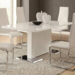 coaster home furnishings glossy white contemporary dining table with accent chairs tables glass round nesting bathroom york furniture pine coffee set antique oak small sunbrella 150x150